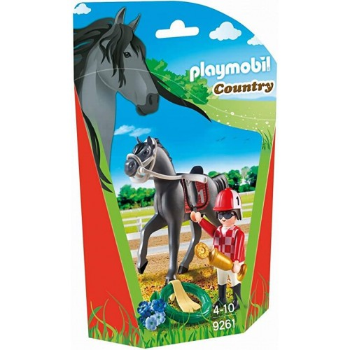 JOCKEY AVEC CHEVAL DE COURSE PLAYMOBIL 9261