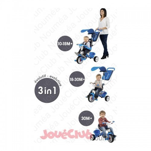 TRICYCLE BABY BALADE BLEU SMOBY 741102